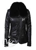 Черная кожаная куртка со съемным мехом, фото 1