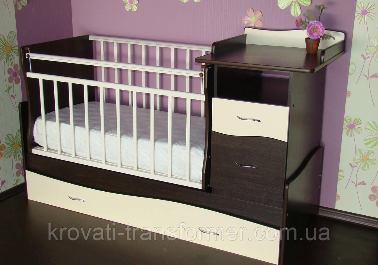 Детская кроватка трансформер Волна с пеленатором  венге+ молочный дуб