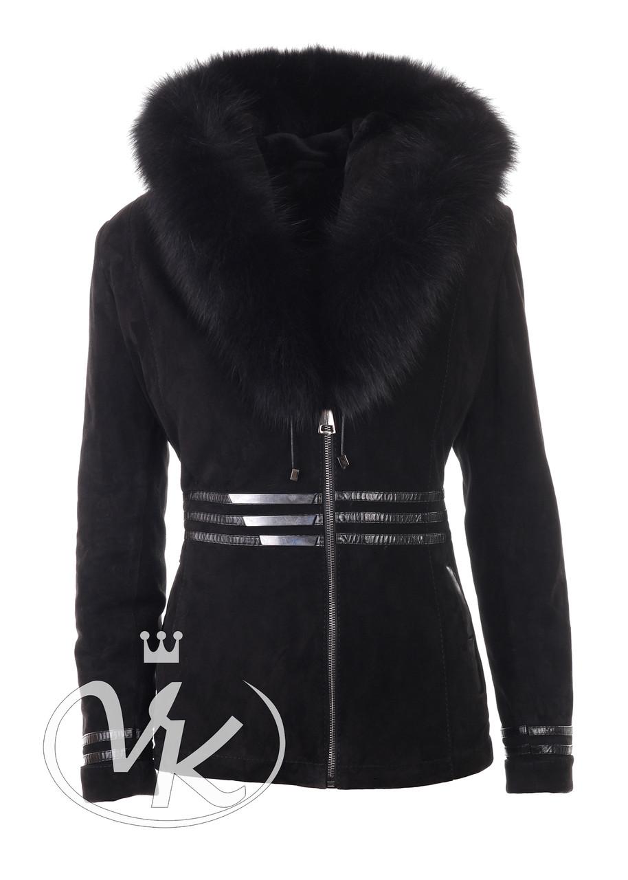 Замшевая зимняя куртка женская с капюшоном с опушкой песца (Арт. LIN202)