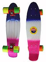 Пенни Борд (Penny Board) 22 (триколор - синий бело розовый)