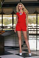 Летний Молодежный Костюм Лен - Шорты и Блуза Красный