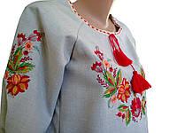 Блуза вишита жіноча льон, великі розміри
