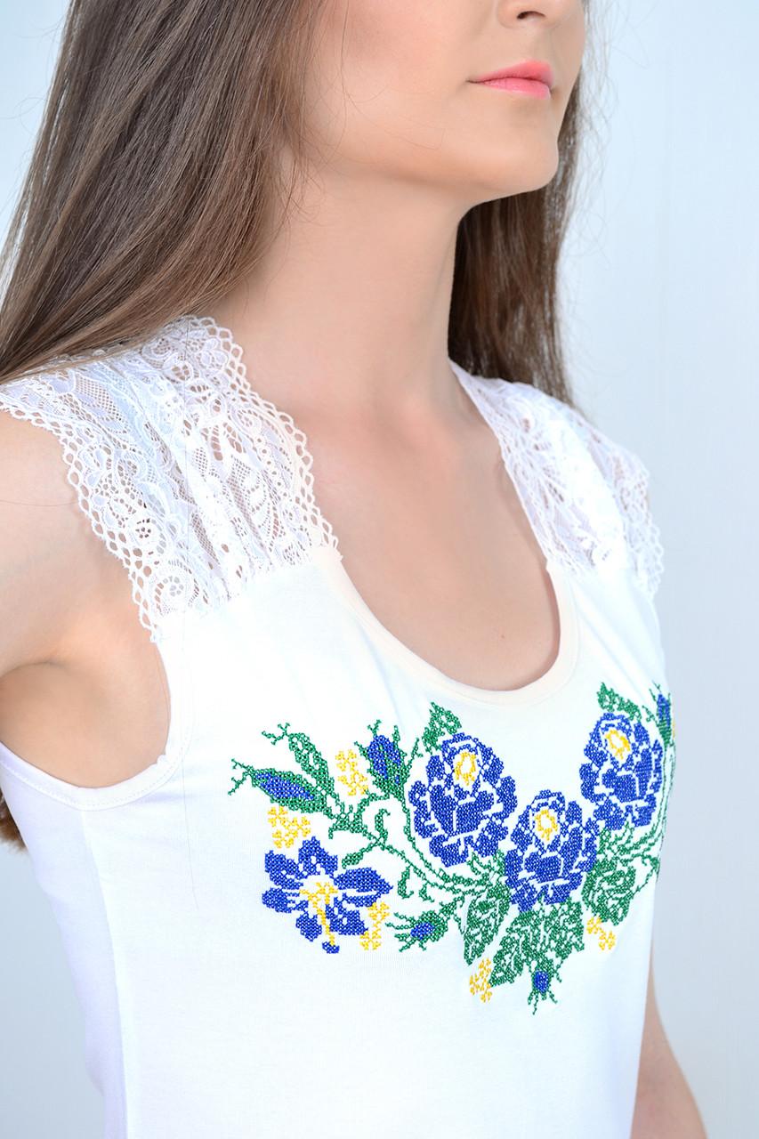 Модная женская майка вышиванка белая