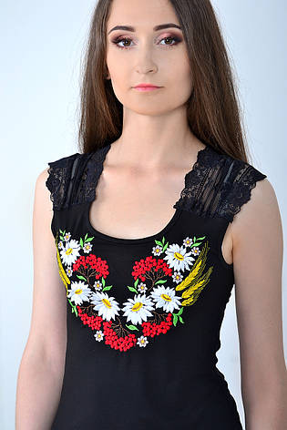 Черная футболка с украинской вышивкой, фото 2