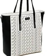 Черно-белая женская сумка с перфорацией Farfalla Rosso