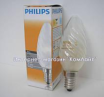 Лампа накаливания Philips BW35 25W Е14 FR свеча матовая витая (Польша)