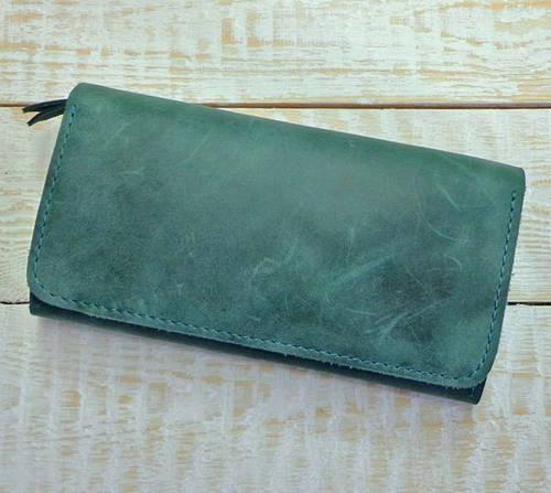 Интересное портмоне из натуральной кожи GBAGS  W.0009-ALI изумрудный