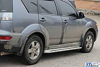 Боковые пороги для Mitsubishi Outlander 2006-2012 d:42 ST Line