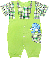 Детский песочник-футболка р. 86 ткань КУЛИР 100% тонкий хлопок ТМ АексТекс 3075 Зеленый