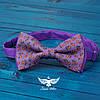 Галстук-бабочка цветочки оранж на фиолетовом