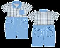 Детский песочник-футболка р. 74 ткань КУЛИР 100% тонкий хлопок ТМ АексТекс 3076 Голубой
