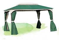 Шатер для отдыха садовый со шторами, 3х4м, полиэстер с ПВХ покрытием, цвет зеленый
