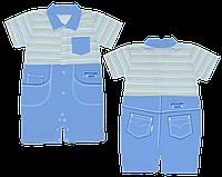 Детский песочник-футболка р. 74 ткань КУЛИР 100% тонкий хлопок ТМ АексТекс 3076 Голубой-1
