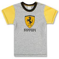 Детская футболка для мальчика Ferrari р. 86 ткань КУЛИР-ПИНЬЕ 100% тонкий хлопок ТМ ПаМаМа 3084 Светло-Серый