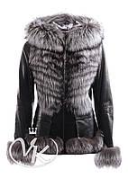 Черная кожаная куртка с мехом чернобурки