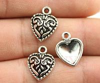 Подвеска сердечко металлическая для изготовления бижутерии своими руками