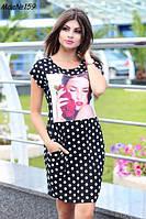 Платье женское в горошек. Ткань вискоза. Размеры 46-48,50-52,54-56. NM 159