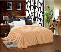 Ворсистое покрывало на кровать двуспальное евро East Comfort (бежевое)