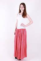 Летняя красивая макси юбка в мелкий горошек р.44-48 коралл