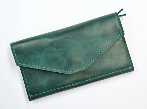 Чудесное портмоне из натуральной кожи GBAGS W.0013-ALI изумрудный