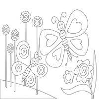 Холст с контуром 'Бабочки' (25см*25см) с красками