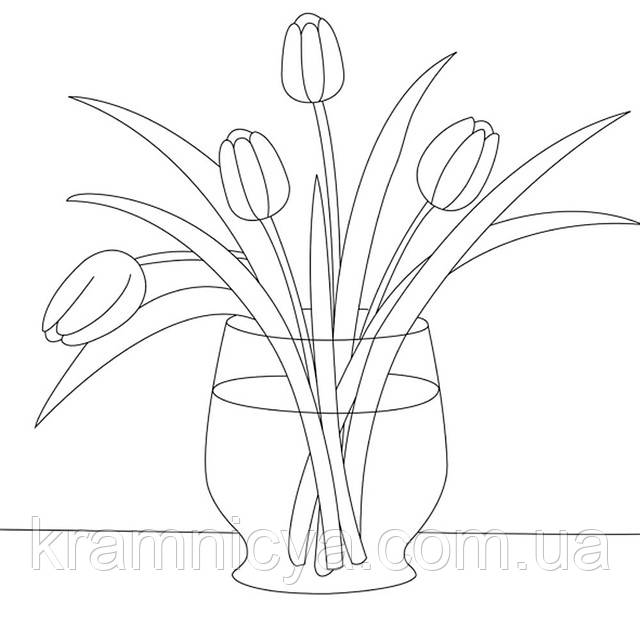 Холст с контуром 'Желтые тюльпаны' (30см*30см)