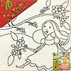 Холст с контуром 'Принцесса с птичкой' (25см*25см)