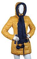 Пуховик женский желтый (горчичный) COVILY 709, фото 1
