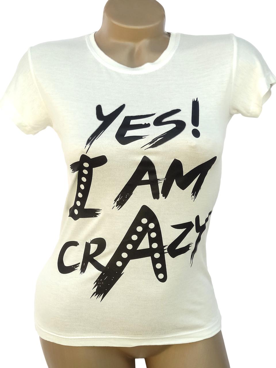 Женская футболка с надписями (в расцветках 40-42)