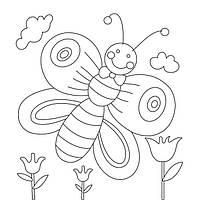 Холст с контуром 'Бабочка' (15см*15см) с красками