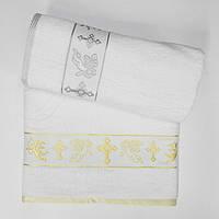 Крестильное полотенце крыжма  с ангелом 70*140 круглый крест, фото 1