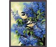 Птички на ветках сирени серия Животные и птицы рисование по номерам 40 х 50 см Идейка MG216