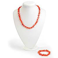 Набор Бусы + браслет  оранжевый Коралл