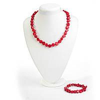 Набор Бусы + браслет красный Коралл