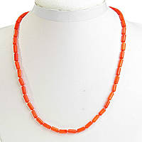 Бусы оранжевый Коралл бусины трубочка 4*8мм, длина 48см