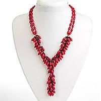 Ожерелье красный Коралл и чешское стекло, бусины зёрна, длина 48см