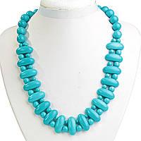 Ожерелье голубая Бирюза Клеопатра звено 12*25 мм и  шарик 12mm L50см