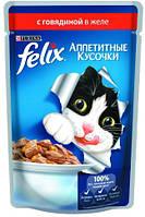 Консервы для кошек FELIX Fantastic (Феликс) с говядиной желе, 100 гр