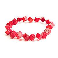 Браслет на резинке красный Коралл квадратные бусины