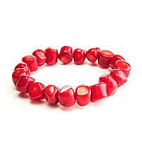 Браслет на резинке красный Коралл крупные камни