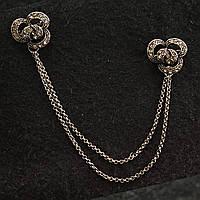 [15/150 мм] Брошь металл под капельное серебро двойная  с цветочным узором со стразами на цепочке для кардиганов и воротничков