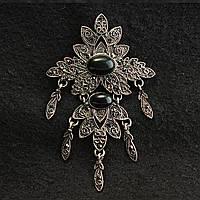 [70/110 мм] Винтажная Брошь - подвеска металл под капельное серебро с черными овальными камнями