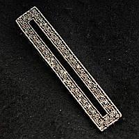 Брошь булавка планка светлый металл со стразами классическая[12/63 мм]