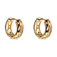 Xuping. Серьги круглые золотого цвета с узором и вставками из страз