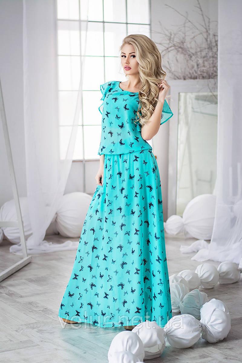 Платье летнее шифон цветы