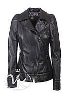 Черная кожаная куртка женская с косой молнией, фото 1