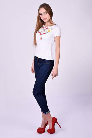 Белая футболка вышиванка с калиной, фото 2