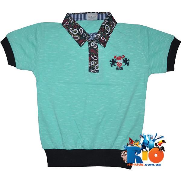 """Летняя футболка - поло """"Эмблема"""" , из трикотажа , для мальчика (рост 140-152-164-176 см)"""