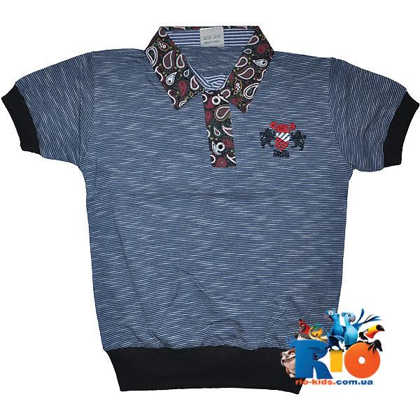 """Детская футболка - поло """"Эмблема"""" , трикотаж , для мальчиков (рост 140-152-164-176 см)"""