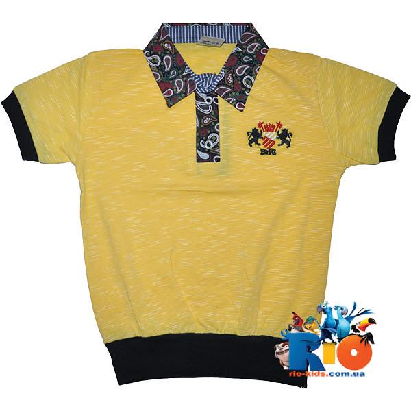 """Детская футболка - поло """"Эмблема"""" , трикотаж , для мальчика (рост 140-152-164-176 см)"""